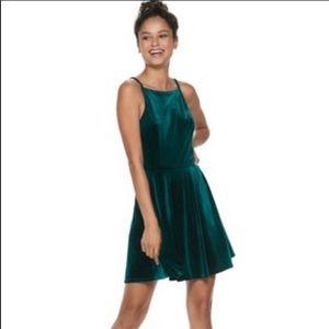 Speechless Juniors Plus Size Velvet Skater Dress